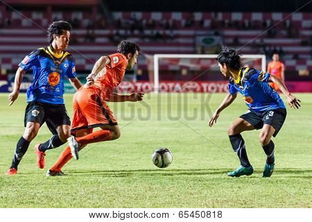 Sisaket Thailand-may 21: Gorka Jose Unda Velasco Of Sisaket Fc. Runs For The Ball During Thaicom Fa