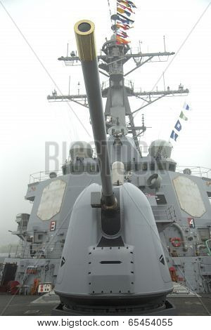 Turret containing a 5-inch gun on the deck of US Navy guided-missile destroyer USS Cole