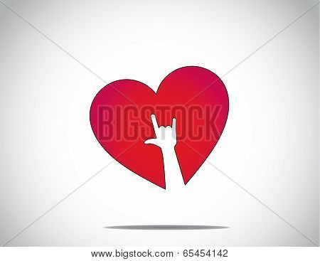 Red Love Or Heart Shape Icon With An I Love You Hand Symbol Art. I Love You Concept Illustration