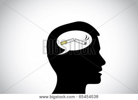 Black Young Male Man Person Head Silhouette Thinking Positively Of Quiting Smoking Thought.
