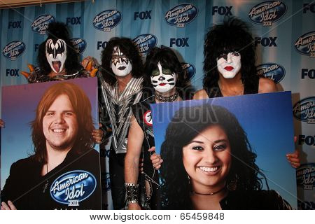 LOS ANGELES - MAY 21:  KISS, Finalists Posters  of Caleb Johnson and Jena Irene at the American Idol Season 13 Finale at Nokia Theater at LA Live on May 21, 2014 in Los Angeles, CA