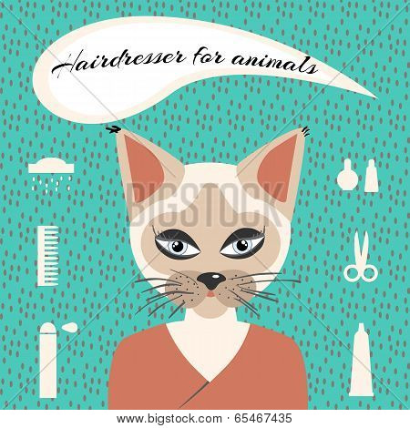 Hairdresser for animals set ikons in minimalist style poster