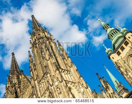 The View Of St. Vitus Cathedral In Prague From Downside