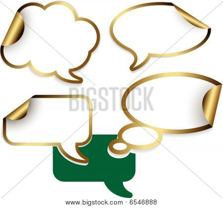 Set Of Golden Comic Clouds And Bubbles