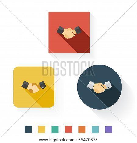 Hand Shake Flat Icon Design
