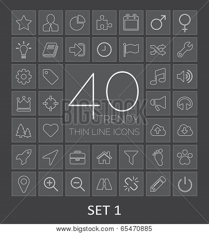 40 Trendy Thin Line Icons For Web And Mobile. Set 1