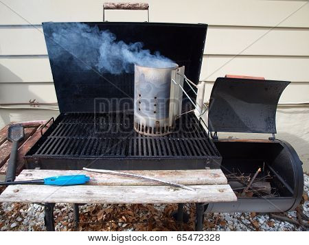 Smoker Grill Warming Up
