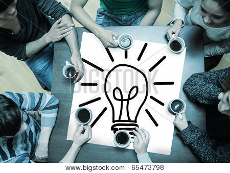 People sitting around table drinking coffee with page showing idea and innovation graphic poster