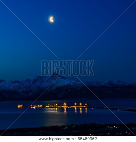 Night Lights Of The Homer Spit Under Half Moon