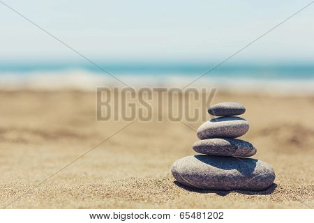 Pebble Stack On Beach