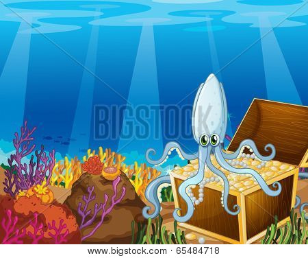 Illustration of a treasure box under the sea with an octopus
