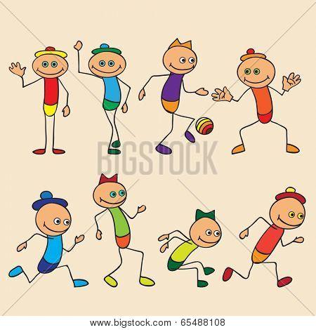 Little toy men play, run, jump.  poster