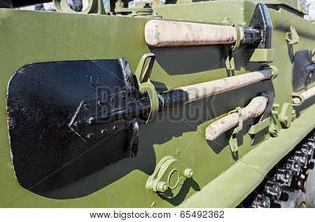 Entrenching Tools Mounted On Armored Tank