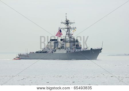 USS McFaul guided missile destroyer of the United States Navy during parade of ships Fleet Week 2014