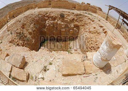 Fisheye view of ancient excavations in desert town Mamshit in Israel