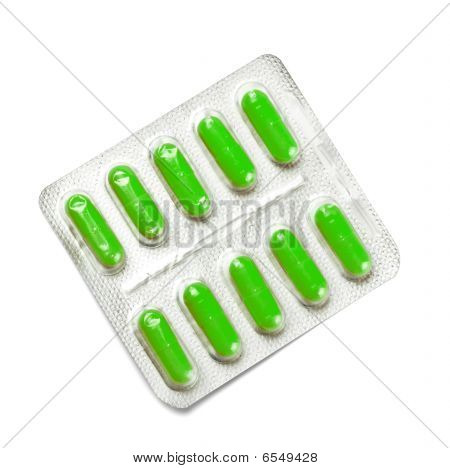 Package Of Green Capsules