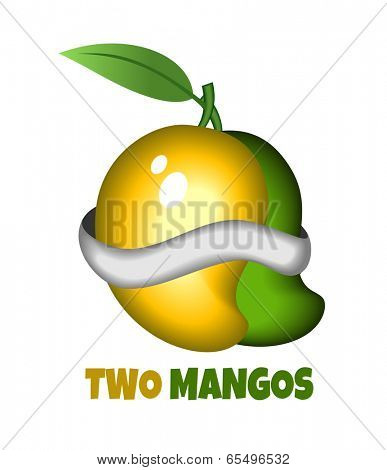 One yellow and one green Mango wrapped togather poster