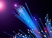 Optical fibers of fiber optic cable. Internet technology poster