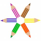 colored pencils drawing, abstract vector art illustration poster