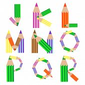 pencils alphabet j-r, abstract vector art illustraion poster
