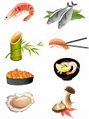 sushi and other traditional japanese food icons poster