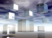 floating glass cubes in the sky - 3d illustration poster