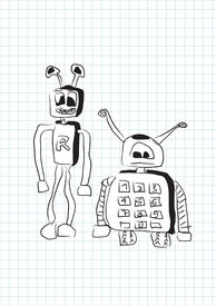 Two Funny Stupid Robots In Doodle Style - Vector