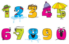 Happy Colorful Numbers From Zero To Nine With Funny Faces For The Children