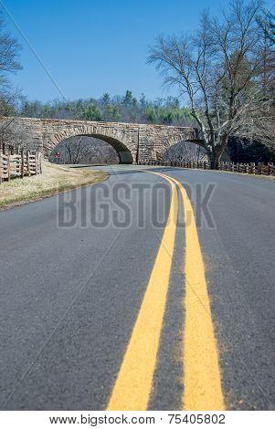 Yellow Lane Divider On The Blue Ridge Parkway
