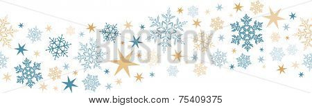 Wavy border design with snow flakes and stars that will tile seamlessly horizontally. Great for decoration of any winter or Christmas design.