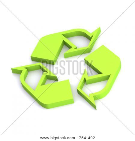 A Colourful 3d Rendered Recycling Symbol Illustration poster