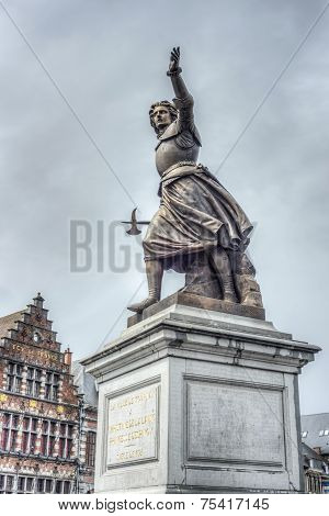 Monument on Grand Place honoring Marie-Christine de Lalaing who defended Tournai against the Duke of Parma Alessandro Farnese in 1581 in Tournai Belgium. poster