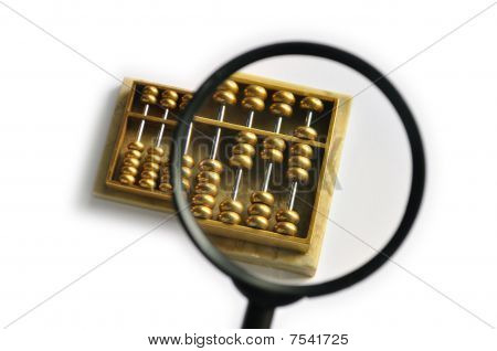 Golden abacus magnified