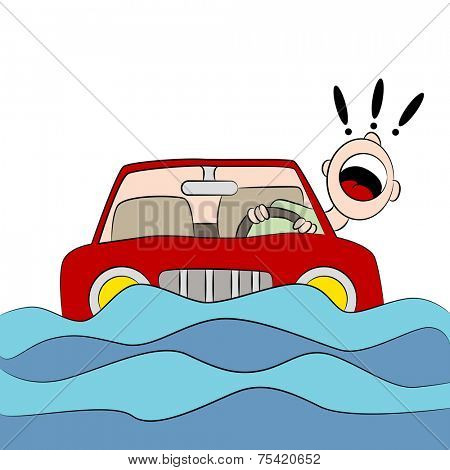 An image of a drvier trapped in his car during a flood.