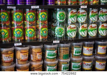 AMSTERDAM - AUGUST 26: Candy and cookies with marijuana for sale in the coffeeshop on August 26, 2014 in Amsterdam.
