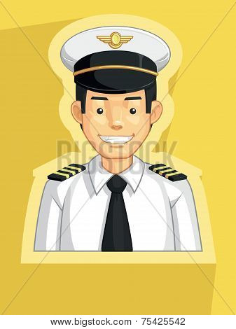 A vector image of pilot. Drawn in cartoon style, this vector is very good for design that needs professions element in cute, funny, colorful and cheerful style. poster