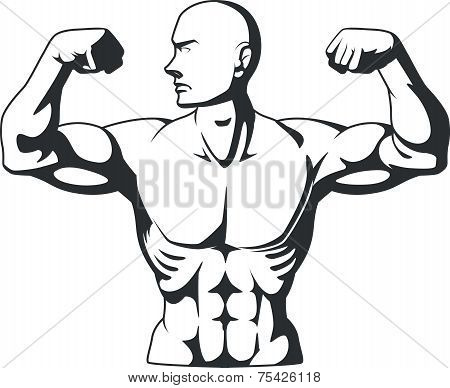 Silhouette of Bodybuilder Flexing Muscles