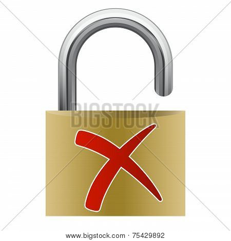 opened Padlock with red cross - Risk poster