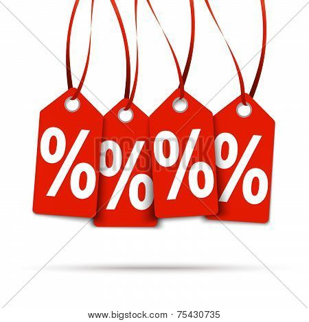 Four Red Hangtags With % Signs