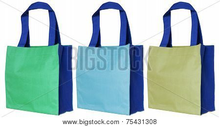Colorful Cotton Bag Isolated On White Background With Clipping Path