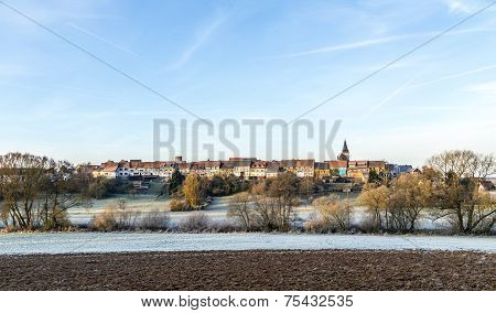 old medieval town wall build of half timbred houses in Idstein Walsdorf in morning light poster
