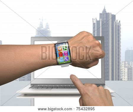 Male Hand Wearing Smartwatch With Metal Watchband