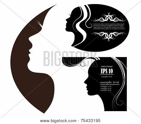 poster of SET female silhouette. vector images and emblems or spa and beauty salons