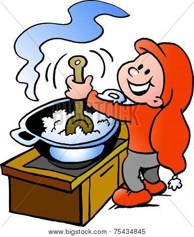 Hand-drawn Vector Illustration Of An Happy Christmas Elf  Cooking Food