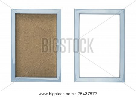 Blue Plastic Picture Frame With And Without Fiberboard Background, Isolated