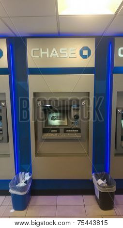 NEW YORK CITY - OCT. 23, 2014: A JP Morgan Chase Bank ATM machine in New York City