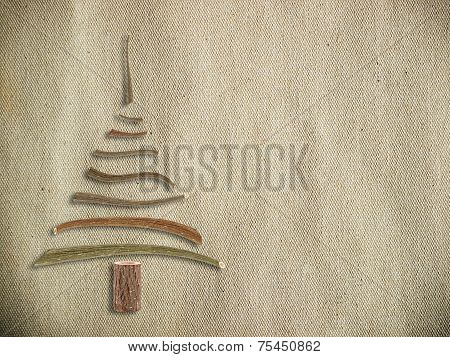 Canvas With Wooden Christmas Tree