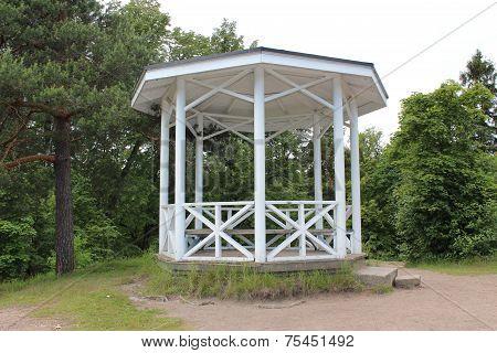 The pavilion in the Monrepo Park in Vyborg.