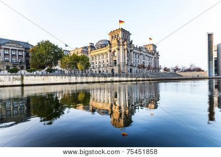 Reichstag With Reflection In Spree River In Berlin