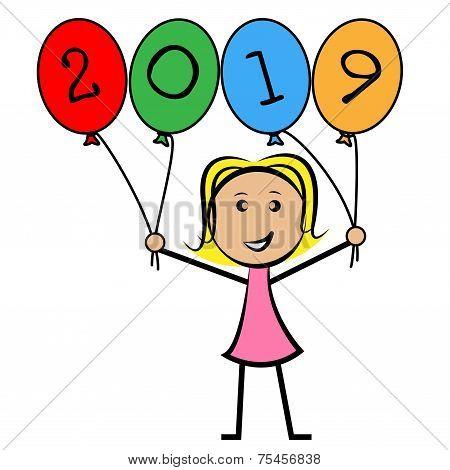 Twenty Nineteen Balloons Represents Young Woman And Kids